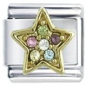 Multi Gem Star - Daisy Charm by JSC Italian Charm Fits Nomination Classic Bracelet