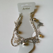 Silver Butterfly & bell Charm Anklet IN0024