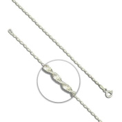 """Twisted Magic Prince Of Wales Chain Anklet / Ankle Bracelet / Ankle Chain - 925 Sterling Silver - 9.50"""" inches / 24 cms Prince Of Wales Twister Rope Chain - Anklets For Women - Supplied in Free Gift Box or Gift Bag!"""