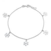 Bling Jewellery Dangling Snowflake Anklet Adjustable Sterling Silver Ankle Bracelet 25cm