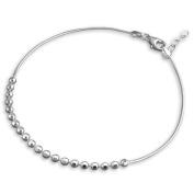 "Silver Snake Chain With Faceted Beads Anklet / Ankle Bracelet / Ankle Chain - 925 Sterling Silver - Adjustable to 10"" inches / to 25 cms - Anklets For Women - Supplied in Free Gift Bag or Gift Box!"