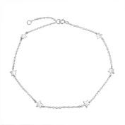 Bling Jewellery Sterling Silver Stars Ankle Bracelet Patriotic Anklet 25cm
