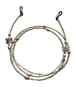 ShoreThing UK Spectacle/Glasses Chain Butterfly & Freshwater Pearl : 70cm - 80cm. Silver/Pastel Pink