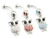 Value Pack! Lot of 3 14G Blue Pink Clear Crystals Cute Retro Owl Bird Dangle Belly Button Ring Navel Ring Bar Gift
