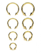 Surgical Steel Horseshoe Bar ANODIZED GOLD with CONES - Lip, Nose, Septum, Ear, Tragus Ring, Various Sizes Available