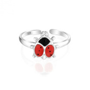 Bling Jewellery 925 Sterling Silver Toe Rings Animal Red Ladybug Midi Ring