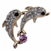 Yazilind Jewellery Gold Plated Full Inlay Crystal Pretty Dolphin Brooches and Pins for Wedding Party