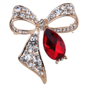 Yazilind Jewellery Trendy Gold Plated Bowknot Carve Red Clear Waterdrop Crystal Brooches and Pins for Women Gift