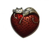 Lazy Cat resting on Red Heart Brooch Pin in Antique Bronze (Supplied in a Gift Pouch) Unique Jewellery