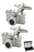 Collar and Cuffs London - Classic SLR Camera Cufflinks - High Quality Brass - Perfect For Photography Lovers - Silver Colour - Presentation Gift Box Included