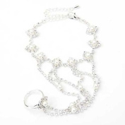 Silver Plated Crystal Rhinestone Pearl Beads Finger Ring Bracelet Chain Link