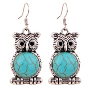 Yazilind Jewellery Charming Tibetan Silver Turquoise Cute Owl Drop Dangle Earrings for Women