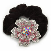 Large Sculptured Rhodium Plated. Crystal Flower Pony Tail Black Hair Scrunchie - Pink/ Clear