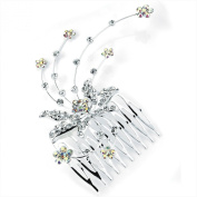 GIZZY® Ladies Girls Silver Coloured Diamonte Crystal Orchid Flower with spray design hair side Comb