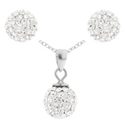 Jewellery Set with 0.925 Sterling Silver Crystal Ball Pendant, Earring and Chain of 46cm