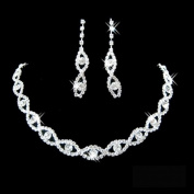 Ladies Rhinestone Twisted Necklace Earring Jewellery Set for Wedding/Engagement/Prom