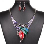 Women's Lariat Bobo Style Colourful Enamel Leaf Festoon Necklace Earrings Set