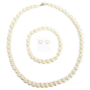 "17"" 8mm Vintage Women Ladies Faux Pearl Necklace SET with Bracelet and earrings Cream/Pink/Black"