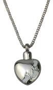 Foot Prints on Heart Urn Pendant - Memorial Ash Keepsake - Cremation Jewellery