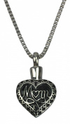 Mother Heart Urn Pendant - Memorial Ash Keepsake - Cremation Jewellery