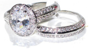 NEW IMPROVED! Never Tarnish 2.10ct Oval Cut World Class Lab Diamonds Engagement Wedding Set. 8.6mm Centre Stone Ring & Double Row Clear Crystal Matching Band. Stamped 316. Steel 4.8gr Total Weight.