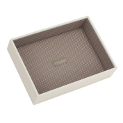 STACKERS 'CLASSIC SIZE' Vanilla Cream Deep Open STACKER Jewellery Box with Mocha Spot Lining.
