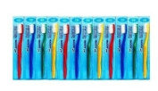Addis Toothbrushes Smokers Extra Hard Yellow, Red, Blue & Green-PACK OF 12