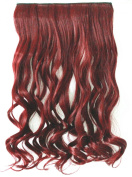 60cm Ladies Women Fashion One Piece Clip in Hair Extension Long Curly Wavy Synthetic Black Brown Blonde