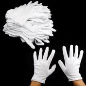 12 PAIRS 100% COTTON WHITE MOISTURISING LINING GLOVE health music canvas work - Small : 19.5*8.5cm