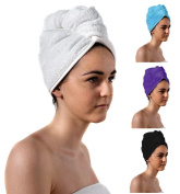 TowelsRus Spa Days Luxury Hair Turban, White, Absorbent Towel and Lightweight Cotton