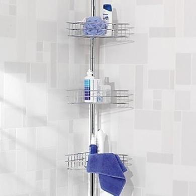 New Chrome 3 Tier Bathroom Shower Corner Caddy Organiser