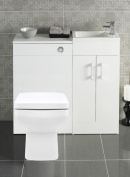 White 400 Bathroom Vanity Combination Unit Cloakroom Suite 500 Square Back To Wall Toilet, Pan, Soft Close Seat, York Mini Tap Un Slotted Waste