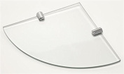 6mm Thick Corner Glass Shelf With Two Chrome Finish Brackets 200mm x 200mm Toughened Safety