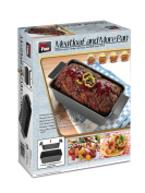 Non-Stick Loaf Pan with Inner Insert and Drip Tin - Bake, Lift and Serve easily! Includes recipe book.
