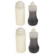 Two Traditional White Fish and Chip shop Salt Shakers (500mls) and Two Vinegar Bottles