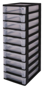 Drawers, Storage drawers with 10 drawers, Plastic drawers black, Drawers, Drawer tower unit ten drawers, Drawer organiser, Plastic office drawers - OCH-2100
