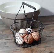 Small traditional dark brown vintage style metal wire egg basket