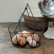 Traditional vintage style metal wire egg basket