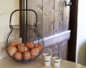 EGG BASKET FRENCH TRADITIONAL COUNTRY VINTAGE STYLE GREY WIRE METAL STORAGE RACK