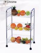 3 TIER CHROME FRUIT VEGETABLE RACK WHEELS STORAGE STAND CART TROLLEY KITCHEN