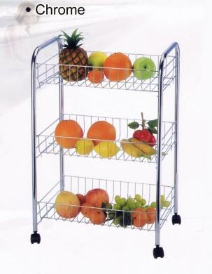 3 TIER CHROME FRUIT VEGETABLE RACK WHEELS STORAGE STAND CART TROLLEY KITCHEN (CHROME)