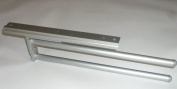 Pull Out Kitchen Towel Holder Rail SILVER 2-ARM 330 mm
