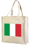 italian Flag Bag, Cotton shopping bag cream