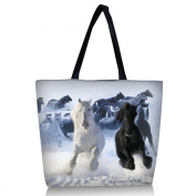 Black and white horse - Many Colourful Designs Reusable Grocery Bags Large Foldable shopping Bag Handle utility Tote ECO Market Bag Shopping - GW-19312