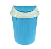 Blue Swing Top Small Plastic Office Desktop Waste Paper Dust Bin Organiser