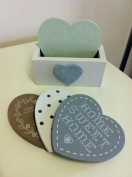 Set of love heart coasters by shabby chic & vintage