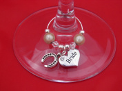 Individual 'Bride' with Lucky Horseshoe Wine Glass Charm by Libby's Market Place