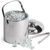 Double Walled Ice Bucket With Tongs Inside Lid 1.5ltr | bar@drinkstuff Insulated Stainless Steel Ice Bucket