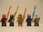 LEGO® 2013 Ninjago Kimono Ninja's - Set of 5 - (Loose) From Original Packaging - Cole, Jay, Kai, Golden Lloyd, & Zane