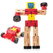 Wooden Transformbot - Transforms from robot to car - Assorted colours and design
